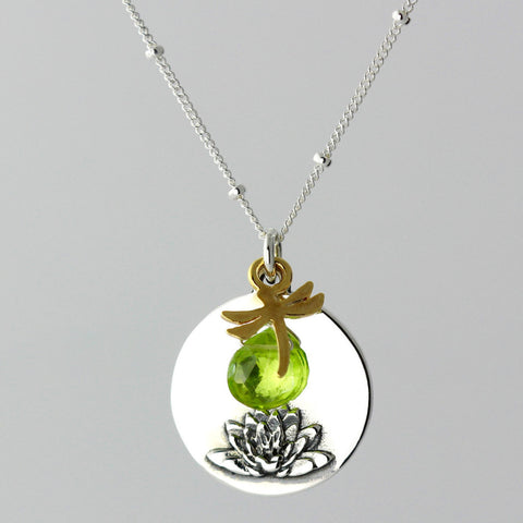 Lotus & Peridot Charm Necklace