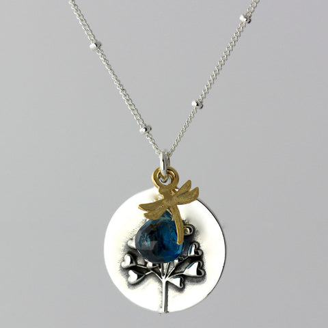 Tree of Love & London Blue Topaz Charm Necklace