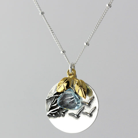 Bird & Blue Topaz Charm Necklace