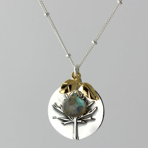 Tree of Life & Labradorite Charm Necklace