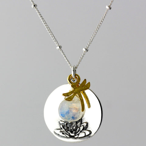 Lotus & Moonstone Charm Necklace