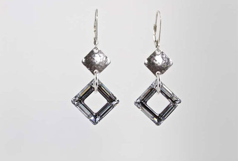 Double Dimond Shape Silver Crystal Earrings