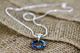 Ocean Blue Crystal Circle Necklace