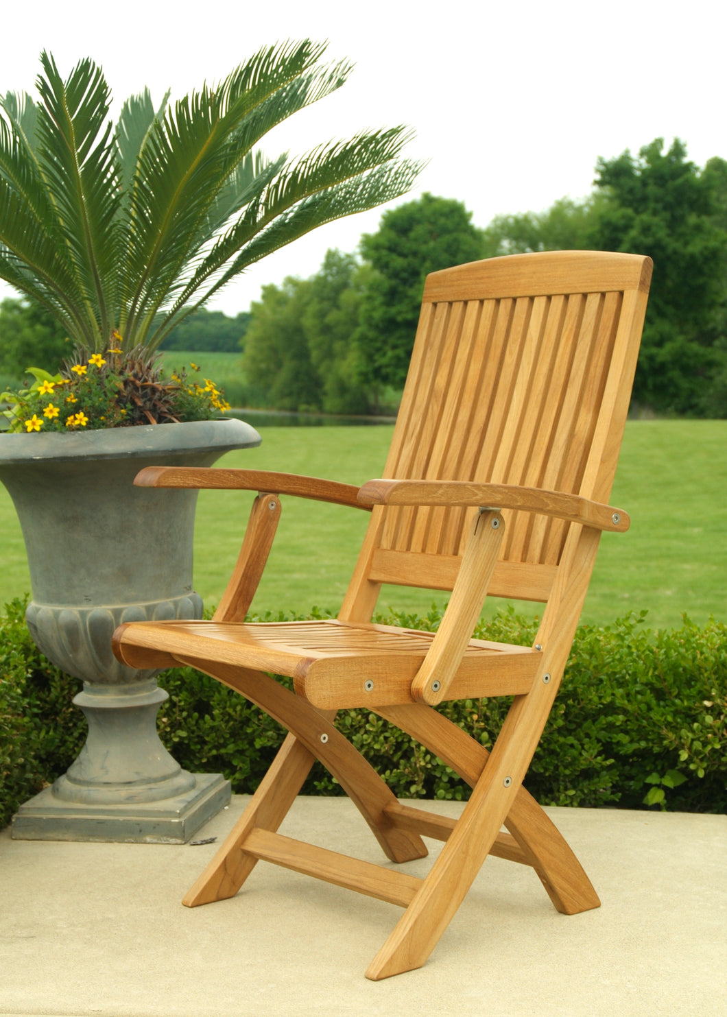 Folding Teak Armchair Set of Two