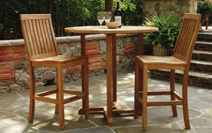 Teak Bar Height Table and Two Chair Set