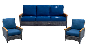 Wicker 3 Piece Deep Seating Bella Collection Sofa