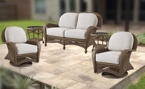 Wicker Nona Collection: 4 Piece Seating, Love Seat, Swivel Gliders, End Tables