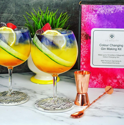 Colour changing gin kit used to make beautiful cocktail