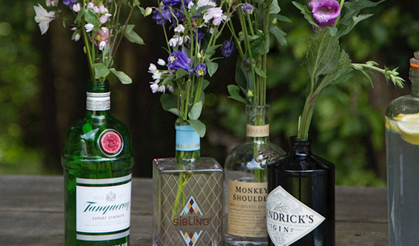 Gin Bottle Vase with flowers