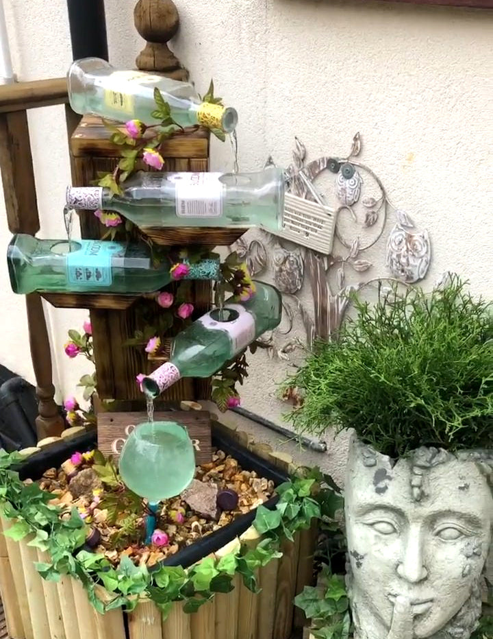 Gin Bottle Water Feature