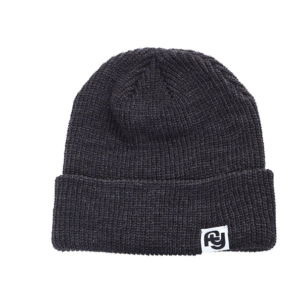 FY Label Ribbed Beanie (dark grey)
