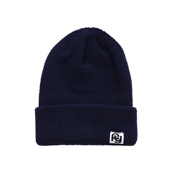 FY Label Ribbed Beanie (navy)