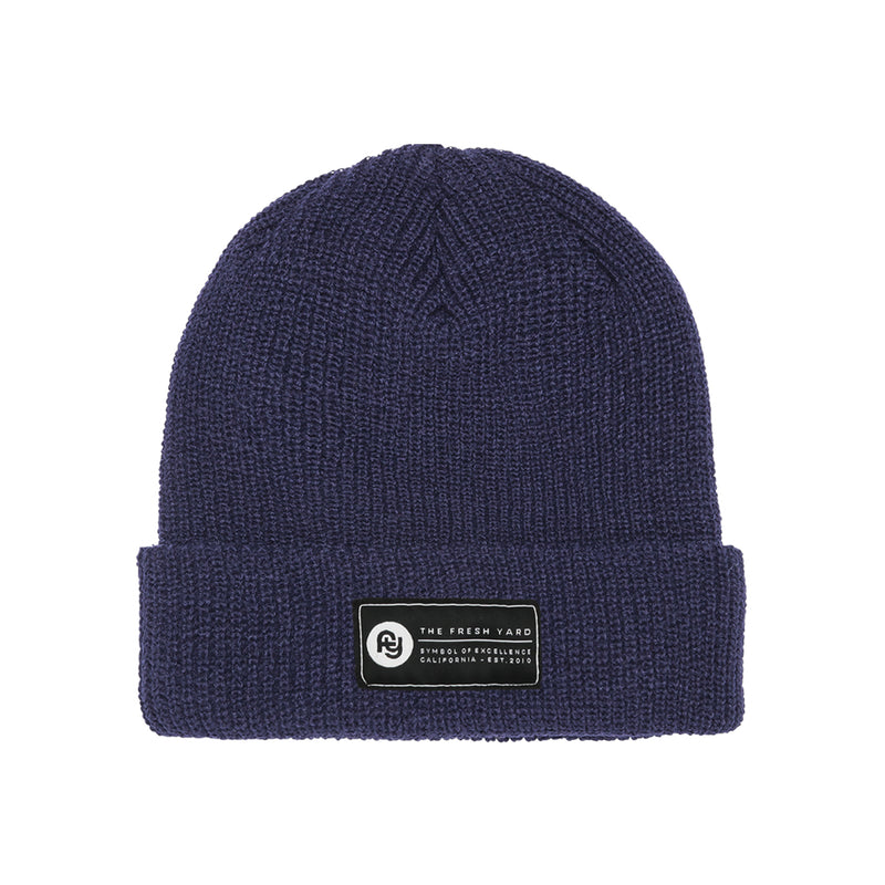 Signature Label Ribbed Beanie (navy)