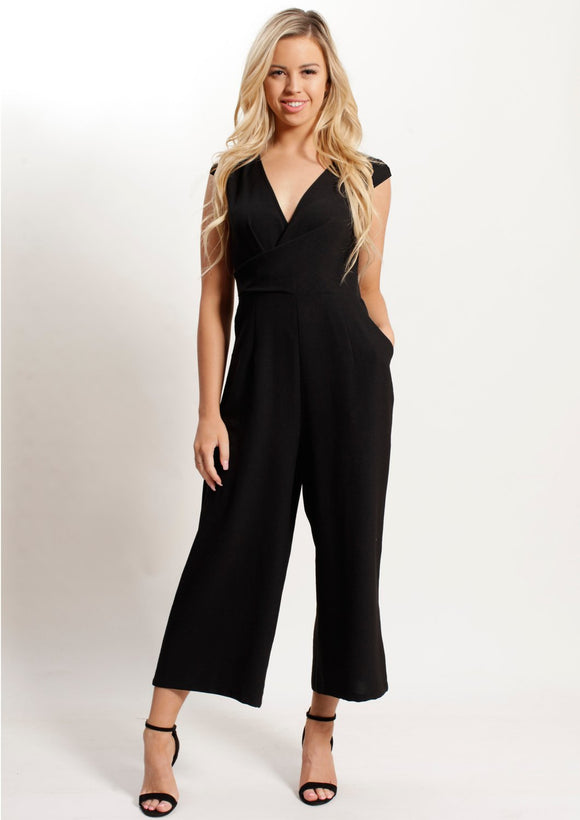 Celina V-Neck Jumpsuit (Black)