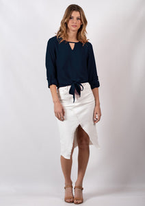 Karly Tie Front Blouse (Navy)