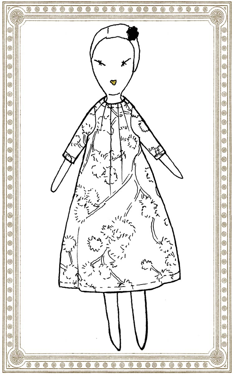 jess brown rag doll sketch with chocolate border