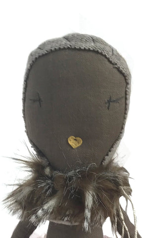 faux fur doll collar - brown
