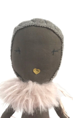 faux fur doll collar - pale pink