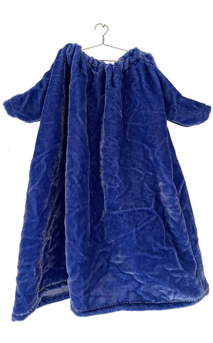 cerulean blue washed velvet dress