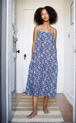 Drawstring Dress in Liberty Navy Floral