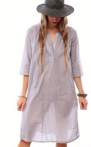 henley dress - swiss dot
