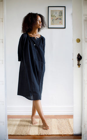 Henley Dress in Paper Thin Black