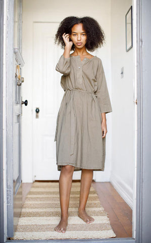 Henley Dress in Paper Thin Olive