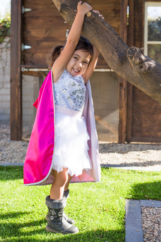 The Elizabeth Reversible Kids Cape- Pink & Silver