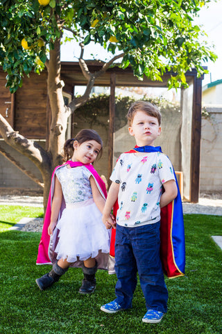 Super Mandela Reversible Kids Cape- Red & Blue