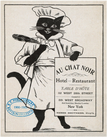 Au Chat Noir, New York 1900 Menu Art