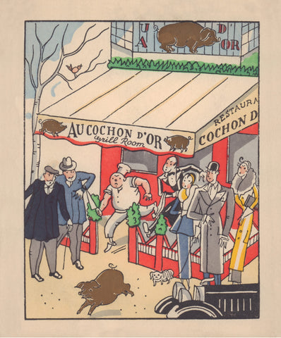 Au Cochon D'Or, Paris 1934 Menu Art