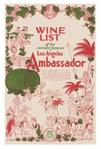 Ambassador Hotel, Los Angeles 1930s Menu Art
