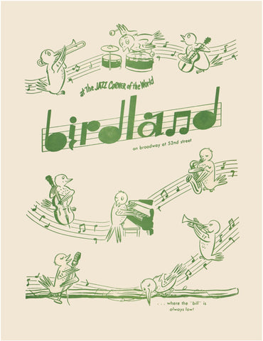 The Original Birdland Jazz Club, New York 1950s Menu Art