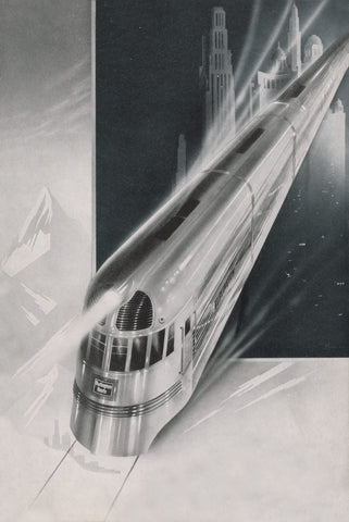 Burlington Zephyr, 1943 Vintage Menu Art