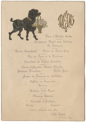 Café Royal, London, 1895 Menu Art