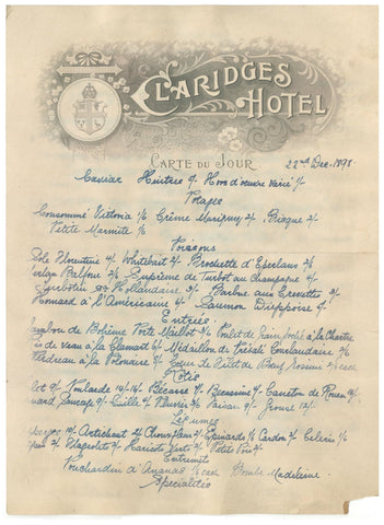 Claridge's, London, December 1898
