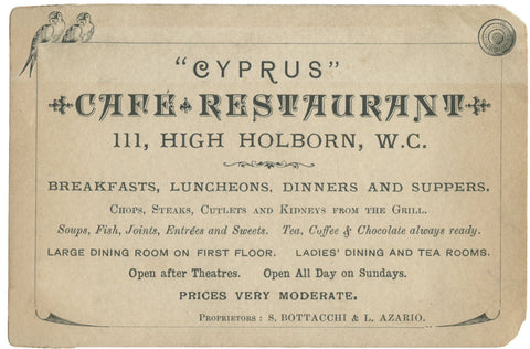 Cyprus Cafe Restaurant, London, 1890