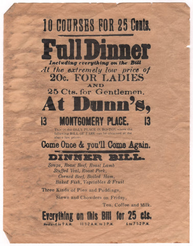 Dunn's, Boston 1874 Menu