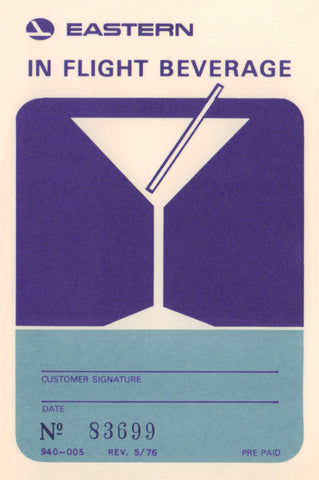 Eastern Air Lines In Flight Beverage Card, 1976