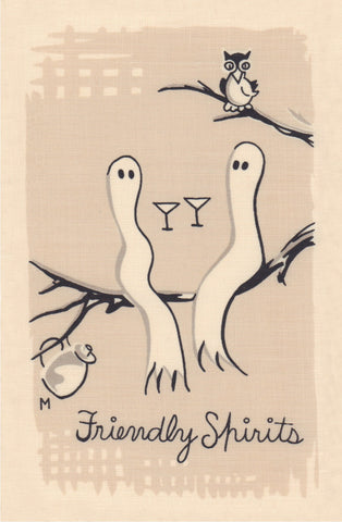 Friendly Sprits, Cocktail Story 1950s Napkin Print