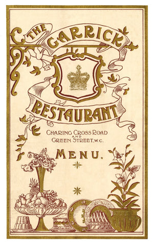 The Garrick, London 1903 Menu Art