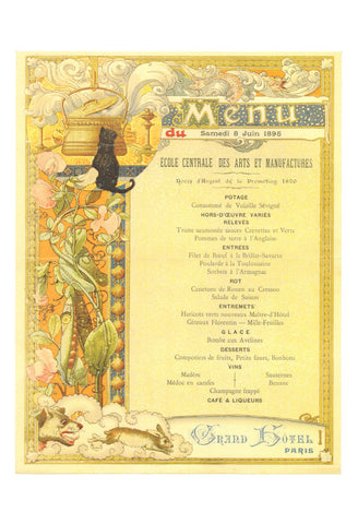 Grand Hotel Paris 1895 Menu Art