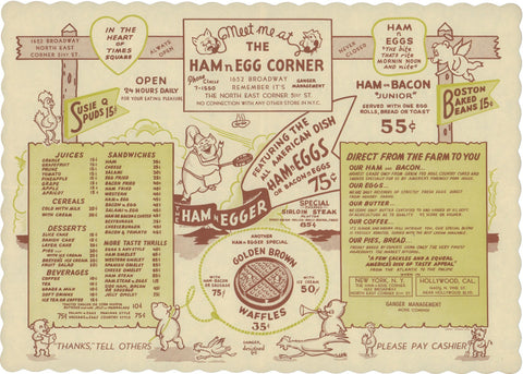 Ham n Egg Corner, New York 1950s Menu Art