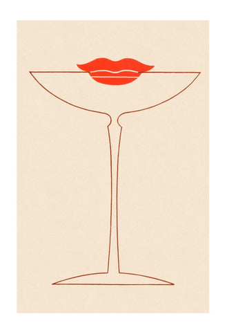 Cocktail Kiss, Long Beach, California 1930s Menu Art