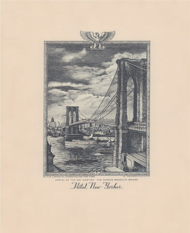Hotel New Yorker, Brooklyn Bridge, New York 1941 Menu Art