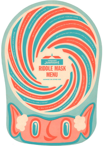 Howard Johnson's Riddle Mask Menu, 1960s