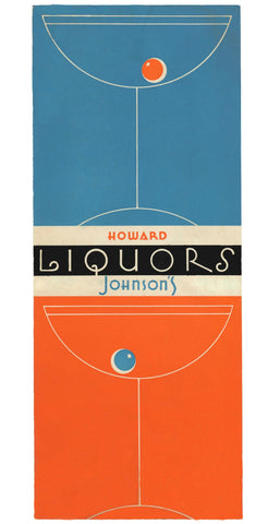 Howard Johnson's Liquors, USA 1950s Menu Art