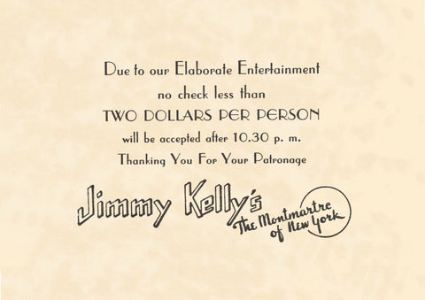 Jimmy Kelly's, New York 1930s