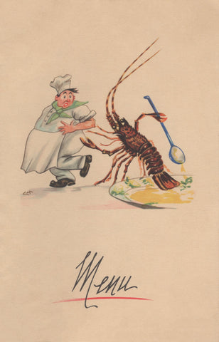 Lobster & Chef, Rouen, France, 1954