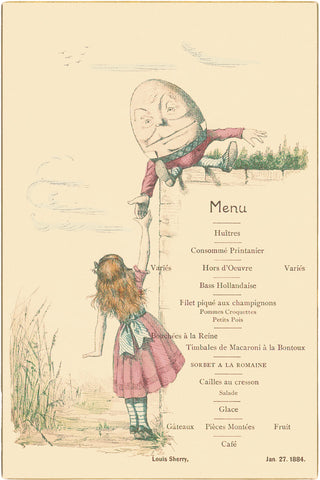 'Private Dinner' Louis Sherry, New York 1884 Menu Art